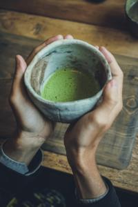 A cup of Japanese matcha green tea.