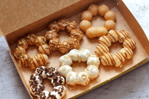 Light and fluffy Japanese mochi donuts in a variety of flavors