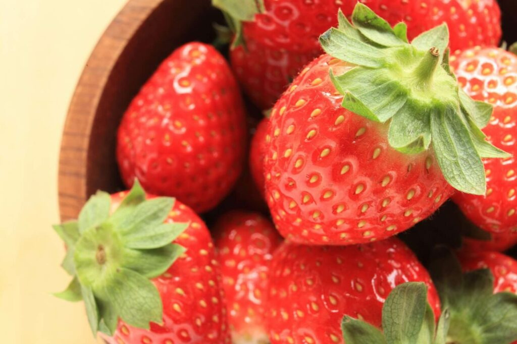 Bright red strawberries grown in Fukuoka, Japan.