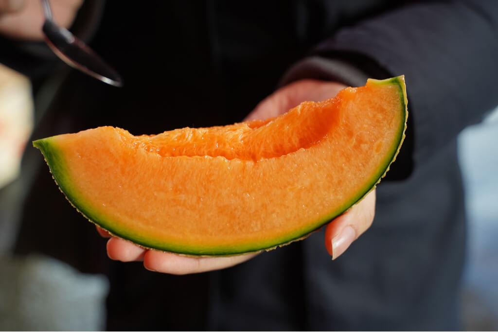 A slice of juicy Yubari melon from Hokkaido.